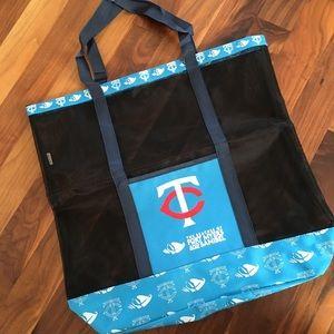 Handbags - New Minnesota Twins Blue Mesh Beach Bag Tote